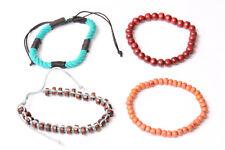 Four Beaded Unisex Bracelets Orange,Claret&Brown Beads Adjustable Size (T571)
