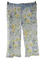 Gymboree Girl's Blue Yellow Floral Adjustable Waist Capri Cropped Pants Size 7