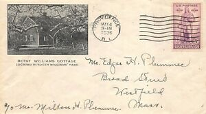 777 3c Rhode Island, 1st Kilton cachet in black, Betsy Williams [102221.1035]