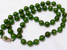 CHINESE VINTAGE DARK GREEN JADE 8mm BEADS NECKLACE, SILVER CLASP, 42 GRAMS