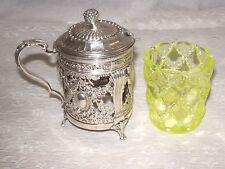 Mustard pot condiment european antique silver with vaseline glass insert