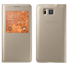 Slim Dotted Leather Samsung Galaxy Alpha S View Flip Cover Case  NFC CHIP Gold