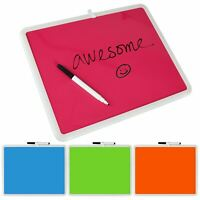 Neon Wipe Clean Marker Message Memo Sign Board Office School Kitchen With Pen