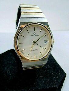 Vintage Junghans Quartz Men's Estate Watch Silver/Gold Tone Contemporary Styling
