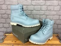 TIMBERLAND LADIES UK 8 EU 41.5 PALE BLUE ICON 6 INCH PREMIUM BOOTS RRP £180