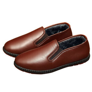 New Winter Waterproof Loafers Flat Casual Warm Men Pu Leather Fleece Lined Shoes