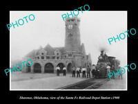 OLD LARGE HISTORIC PHOTO OF SHAWNEE OKLAHOMA, THE SANTA FE RAILROAD DEPOT c1900