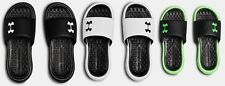 Under Armour Boys UA Playmaker Fixed Strap Slides Sandals Black, Green, White