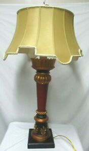 """Chelsea House Vintage carved wood tall table Lamp 30"""" gold red brown uses 2 bulb"""