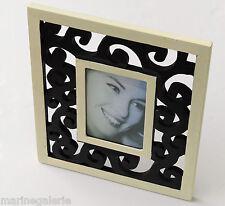 Cadre photo noir 10x15 déco moderne art floral à poser aspect brut ajouré 33cm