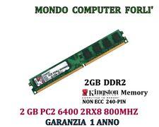 2 GB (1 X 2GB) DDR2 MEMORIA/RAM < KINGSTON>PC2 6400U 800MHz NO ECC BASSO PROFILO