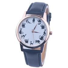 Damen Freizeit Uhr Katze Ziffernblatt Leder Edelstahl Analog Quarz Armbanduhren