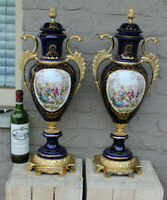 PAIR XL French cobalt blue porcelain Victorian Vases