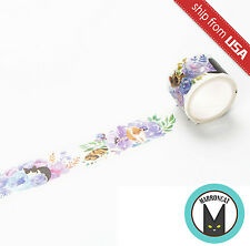 "1.2"" Wide Watercolor Purple Cat Paper Masking Washi Tape Sticker DIY Diary Cute"
