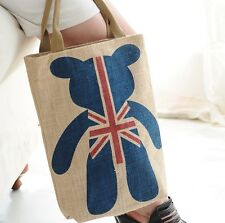 New Blue Bear UK Flag Women Shopping Tote Bag Handbag Thick Quality Linen