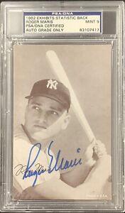 Roger Maris Signed 1962 Exhibits Card Baseball Stats Yankees PSA/DNA Auto Mint 9