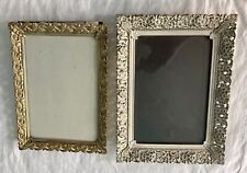 2 vintage metal picture frames, table top, white, gold, provincial, W/ Glass