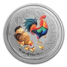 Perth Mint Australia 2017 Colored Rooster 1/2 oz .9999 Silver Coin