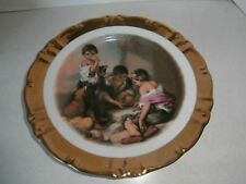 RARE VINTAGE BAVARIA GERMANYKIDS PLAYING PLATE GOLD 22 KT HEAVILY TRIM