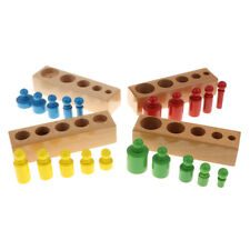 Wooden Montessori Sensorial Toy- 4 Colors 20pcs Knobbed Cylinder Family Set