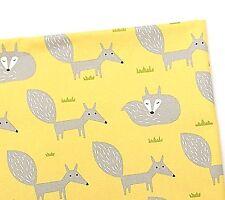 Jaune renards gris 100% Coton Tissu Oxford vestige 56 cm x 47 cm Animal Fox Coupe F