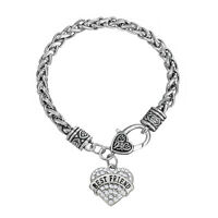 Best Friend Heart Crystals Love Friendship Bracelets Gift Silver Plated