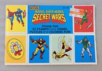 MARVEL SUPER HEROES SECRET WARS STAMP FUN, 32 STAMPS, GAMES, PUZZLES, 1984