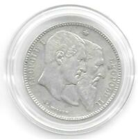 Belgium 1880 2 Francs Silver Commemorative Coin KM-39 Lightly Toned VF