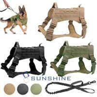 Nylon Tactical K9 Training Dog Harness Military Adjustable Nylon Vest + Leash