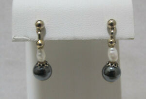 Lovely 2-Tone Silver Cap Hematite White Freshwater Pearl Gold Tone Bead Post Ear