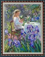 "Hand-painted Oil painting art Original Impressionism girl on Canvas 24""x36"""
