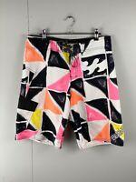 Billabong Men's Casual Board Shorts - White Pink Orange - Size 32 Swimming Beach