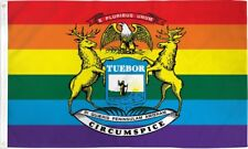 Michigan Rainbow Flag 3x5 ft Gay Lesbian LGBT LGBTQ Pride Banner MI State