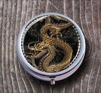 DRAGON GOLDEN ASIAN ART PILL BOX ROUND METAL - whb8Z