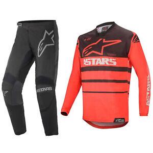 2021 ALPINESTARS MOTOCROSS MX KIT PANTS JERSEY - BLACK / GREY / RED