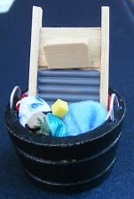1:12 Scale Laundry Washing Fixed In A Wooden Tub Dolls House Miniature Accessory