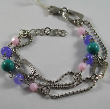 .925 RHODIUM SILVER DOUBLE WIRE BRACELET WITH TURQUOISE, AMETHYST AND QUARTZ