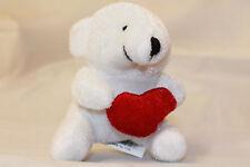 WHITE PLUSH LITTLE TEDDY BEAR HOLDING A RED HEART THREE INCH HIGH