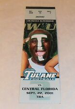 Vintage 2001 Tulane Greenwave Vs Central Florida Knights Football Ticket