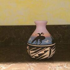 "Signed BlkH20 Blackwater Navajo Native American Pottery Horse Vase 4"""