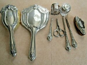 9 PIECE ANTIQUE WEBSTER STERLING SILVER VANITY DRESSER SET MIRROR JAR BRUSH ....