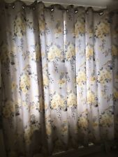 Catherine Lansfield Birdcage Birds Roses Grey Ochre Lemon Eyelet Curtains Superb