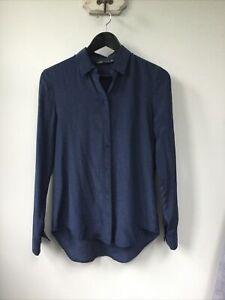 Gorgeous Ladies Zara Blue 100% Mulberry Silk Blouse, Size XS, UK Size 8, Excelle