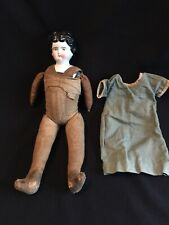 Antique German 1890's Porcelain China Head #4 Cloth Body Doll Lowbrow Head Doll