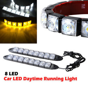 2x Car 8 LED Amber/White Switchback Strip Arrow Flasher Turn Signal Light Lamp