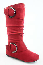 Women's Causal Round Toe Flat Mid-Calf Knee High Boot Shoes Size 5 -10 NEW