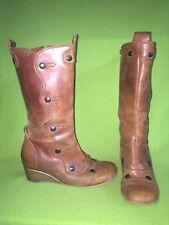 Brown Fly London Wedge Heel Zip-Up Boots 10 41