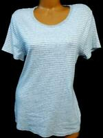Faded glory gray white short sleeve scoop neck plus size striped top XXL, 20