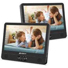 "2X 12"" Dual Screen HD Car Headrest Moniter TV Portable DVD Player Battery USB SD"