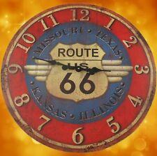 Wanduhr Eisen Route 66 Biker Geschenk antik Vintage Mobiliar Interieur Weihnacht
